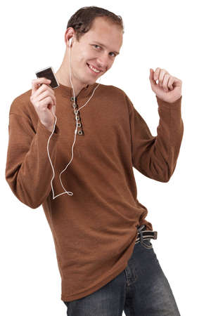 Young caucasian man wearing trendy clothes listening to music. Isolated on white background Stock Photo - 3511815