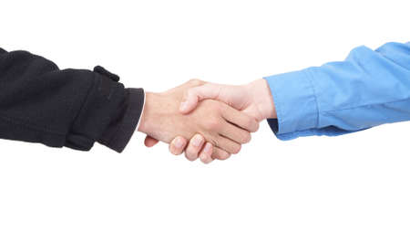 Two businessmen shaking hands in agreement. Isolated on white background Stock Photo - 3613243