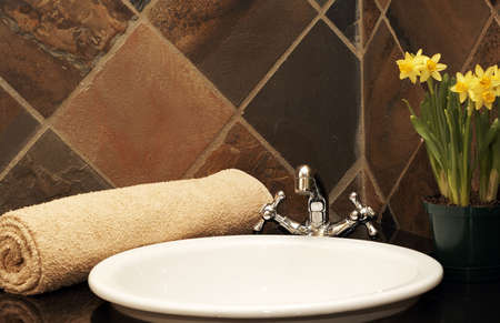 Modern bathroom inter with rolled up towel on the counter and daffodils in the background Stock Photo - 3657283