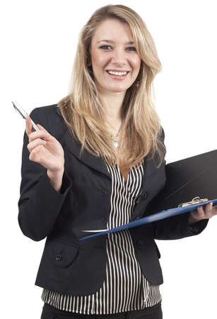 Beautiful happy blonde businesswoman wearing office clothes holding clipboard and pen. Isolated on white background  photo