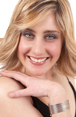 Portrait of a beautiful blonde woman with light green eyes and natural make-up isolated on white background photo