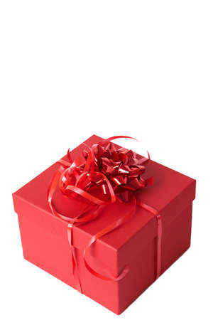 closed ribbon: Red gift box with bows isolated on white background  Stock Photo