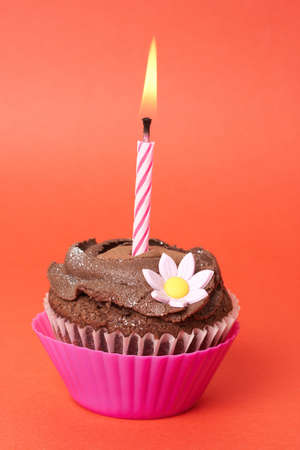 Miniature chocolate cupcake with icing, decorative flower and birthday candle on red background photo
