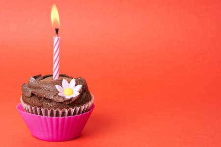 dainty: Miniature chocolate cupcake with icing, decorative flower and birthday candle on red background with copy space Stock Photo