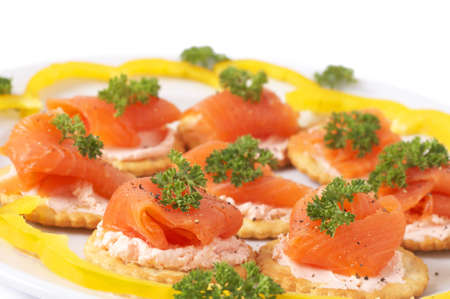 flavorful: Smoked salmon and cream cheese on mini crackers with freshly cracked black pepper and garnishing of parsley