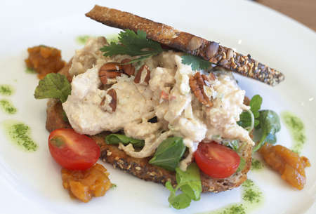 Tasty open sandwich with mayonnaise chicken, pecan nuts, rocket leaves, parsley and sliced tomatoes on wholewheat bread with seeds Stock Photo - 5223181