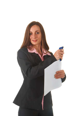 Beautiful brunette businesswoman in business suit on white background. Not isolated photo