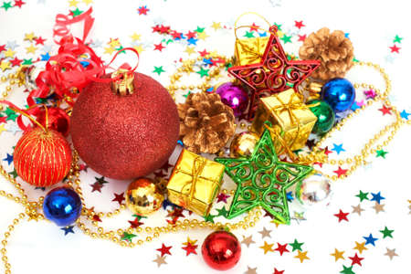 Red Christmas baubles and other decorations with stars on white background with copy space Stock Photo - 8349546