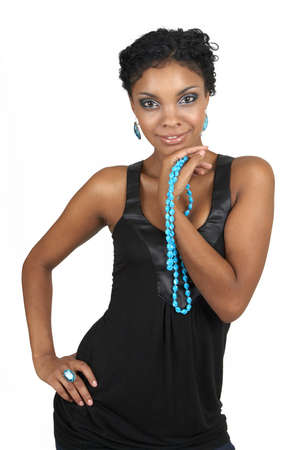 Beautiful brunette african woman wearing party clothes and accessories smiling on white background photo