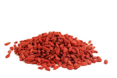 Red dried goji berries (Lycium Barbarum - Wolfberry) isolated on white background