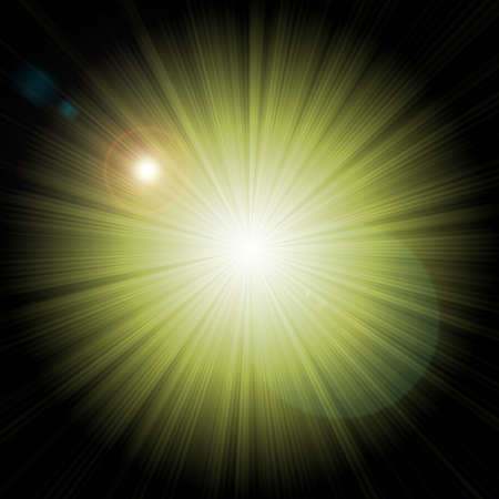 Abstract green starburst background with artificial lens flares photo
