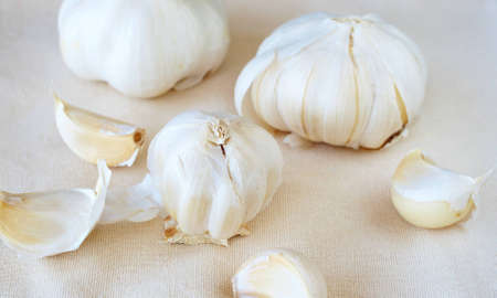 Fresh garlic broken into cloves on brown cloth background photo