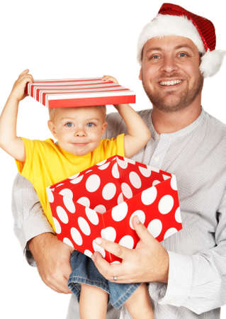 Baby boy with his father for Christmas holding a large gift box photo
