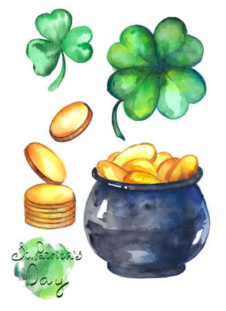A collection of watercolor illustrations for St. Patricks Day. Clover with four leaves, gold and pot.