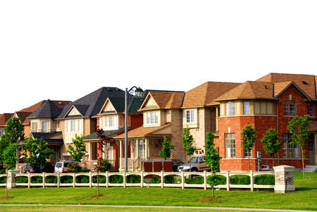 residential home: Row of new residential houses in suburban neighborhood