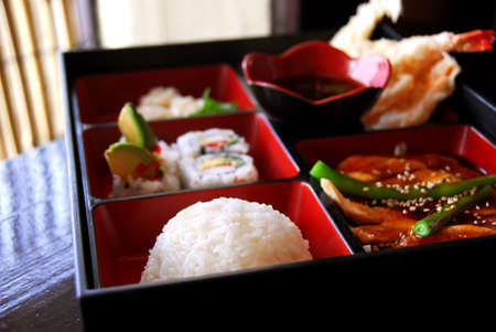 bento: Assorted japanese food bento served a wooden box Stock Photo