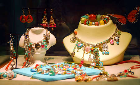 costume jewelry: Fashion jewelry displayed in a jewelry store window