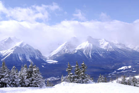Scenic winter mountain landscape in Canadian Rockies