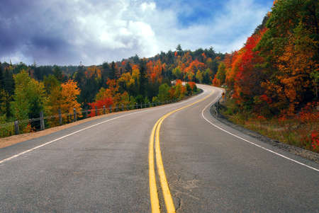 scenic drive: Fall scenic highway in northern Ontario, Canada Stock Photo