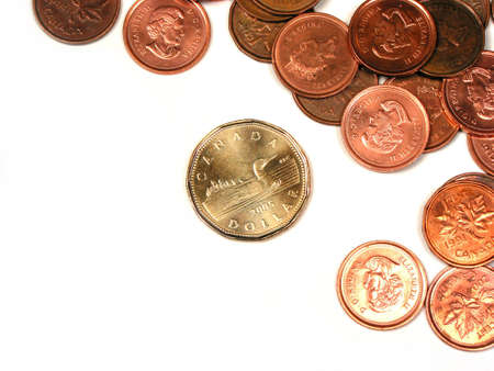 pennies: Canadian pennies and a dollar coin on white background