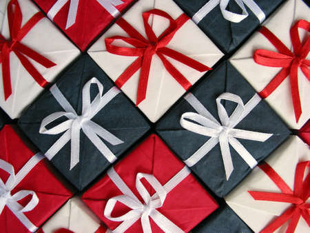 Pattern of red, blue and white giftboxes