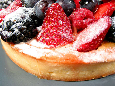 Closeup on mixed berry tart on a plate
