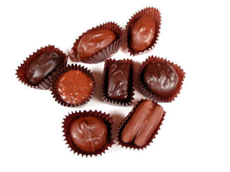 confectionary: Several chocolates on white background