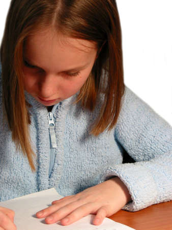 Young girl studying, white background Imagens