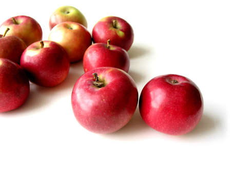 apples on white background, closeup