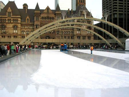 resurfacing: Zamboni on public skating rink in downtown Toronto Stock Photo