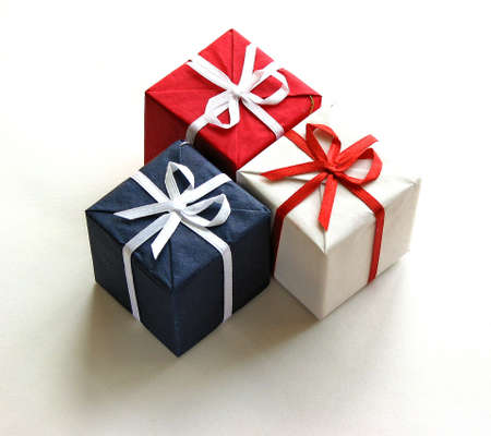 Colorful red, blue and white gift boxes