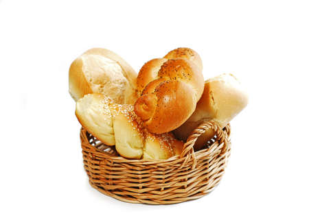 Small basket filled with buns isolated on white background Stock Photo - 353227