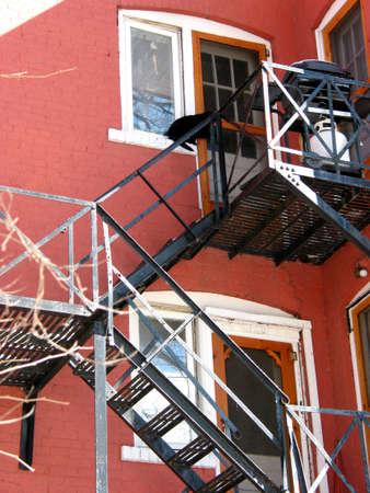 huir: Escalera de incendio en edificio de ladrillo rojo; gato negro en la parte superior ventana  Foto de archivo