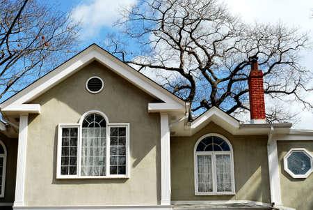 different shapes: Residenziale casa circondata da antiche querce visualizzazione su forme diverse finestre