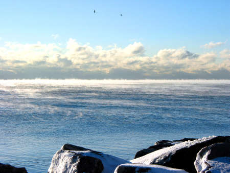 literally: Lake Ontario literally steaming after a sudden drop in air temperature - a rare natural occurance