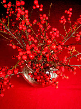 Red berry tree branches in a vase on red tablecloth photo