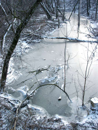 Frozen river in a winter forest Stock Photo - 360928
