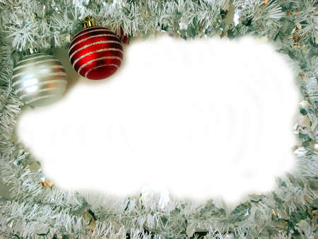 Christmas border with two glass ball ornaments and white space for text