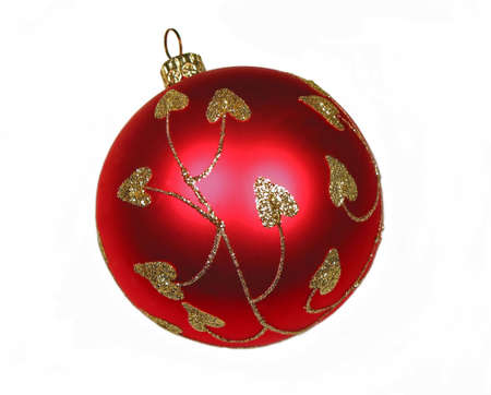 Closeup on red christmas ball isolated on white background