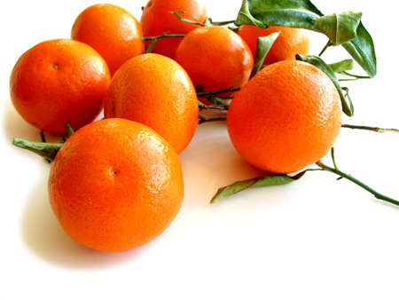 Orange tangerines with green leaves isolated on white background Stock Photo - 360630