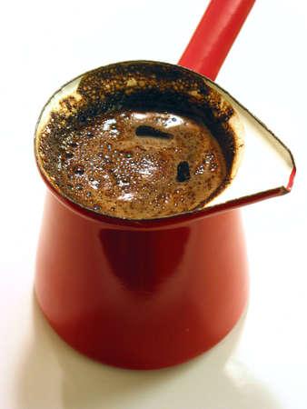 Freshly brewed black turkish coffee
