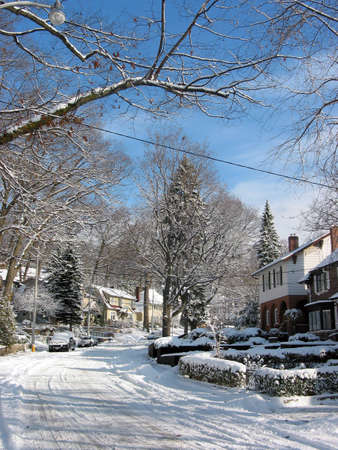 Snow covered winter street photo