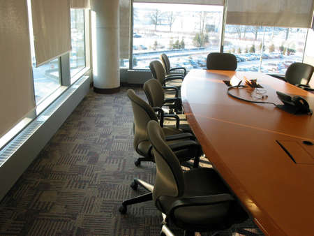 teleconference: Business conference or meeting room on a sunny afternoon