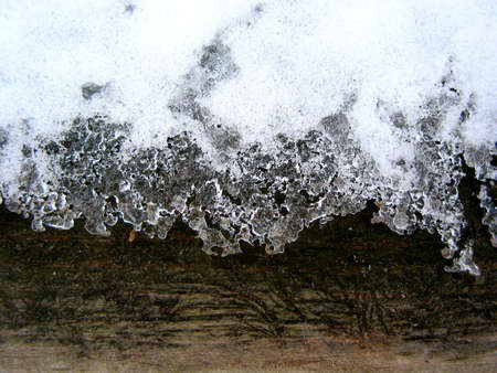 edge: Ice lace on a fence edge Stock Photo