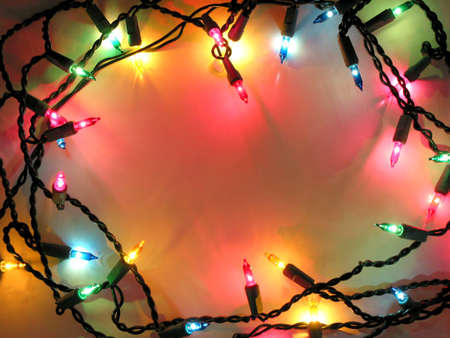 Colorful background with Christmas lights Banco de Imagens