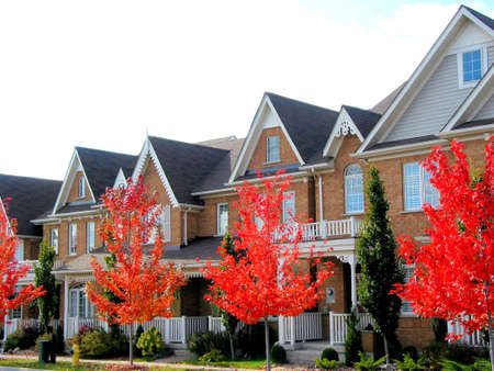 townhome: Real estate: A row of new townhomes with bright red fall trees Stock Photo