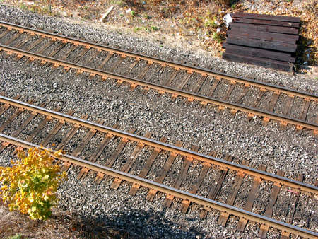 Railroad tracks, top view