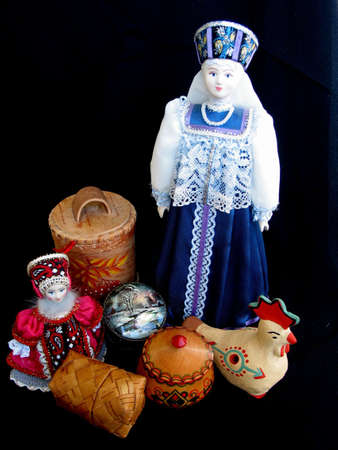 Russian souvenirs on black background