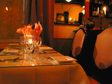 evening out: Dinner table setting in a reastaurant Stock Photo