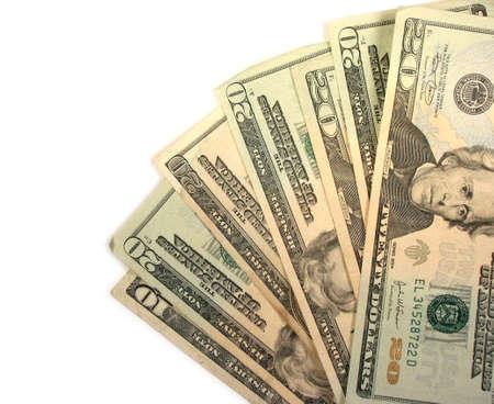 twenty: Closeup on twenty dollar US bills isolated on white background Stock Photo